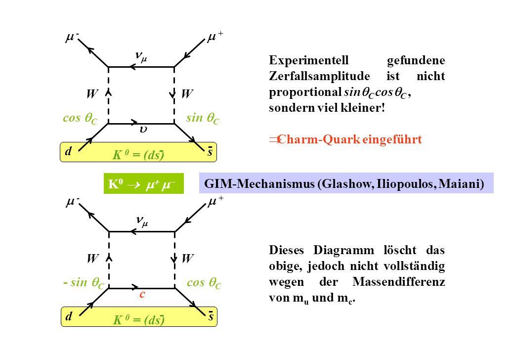  -  + d. nm.  s. W. - cos C. sin C. Experimentell gefundene Zerfallsamplitude ist nicht proportional sinC cosC ,