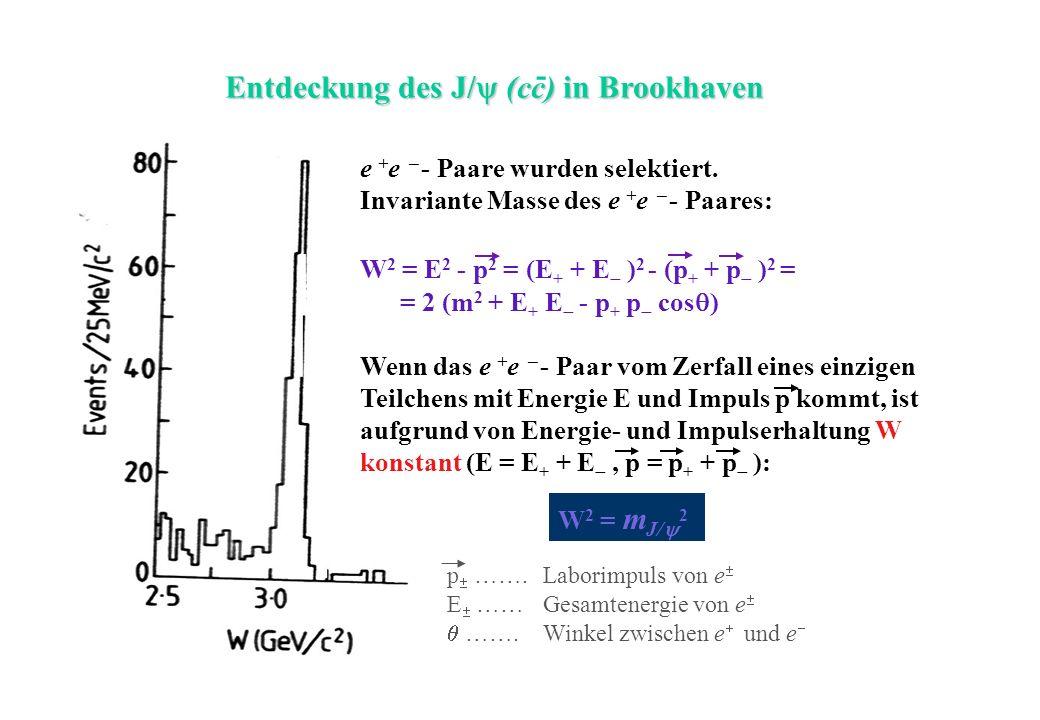 Entdeckung des J/ (cc) in Brookhaven -