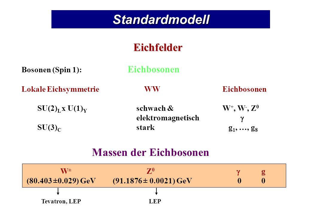 Standardmodell Eichfelder Massen der Eichbosonen