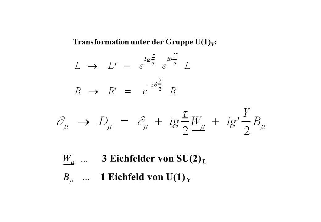 W 3 Eichfelder von SU(2) B ... 1 Eichfeld von U(1) ...
