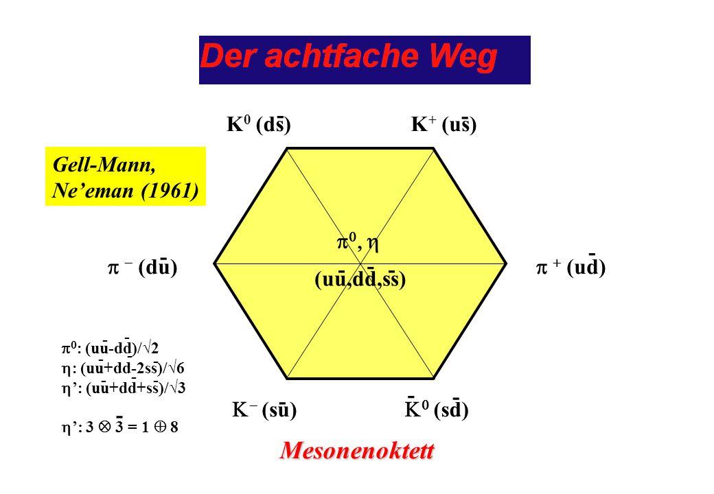 Mesonenoktett - - K0 (ds) K+ (us) p - (du) p0, h (uu,dd,ss) K- (su) -