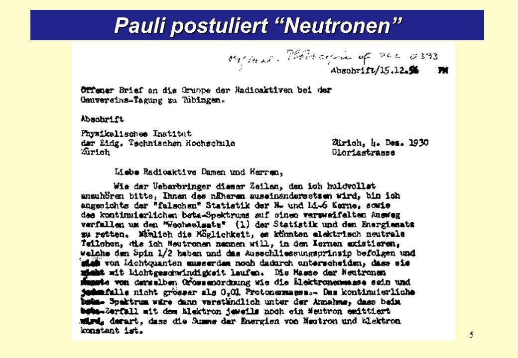 Pauli postuliert Neutronen