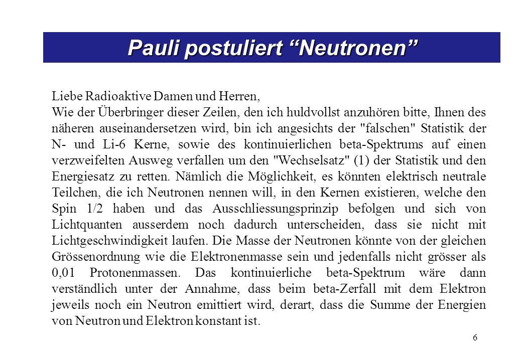 Neutronen -> Neutrinos