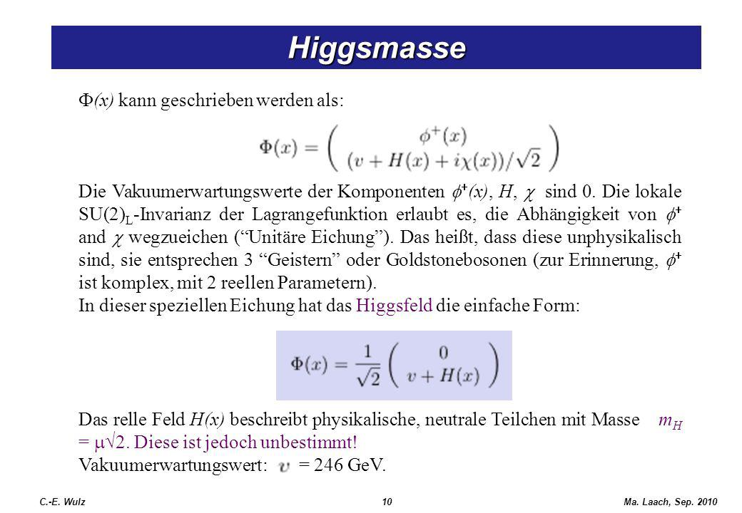 Higgsmasse F(x) kann geschrieben werden als: