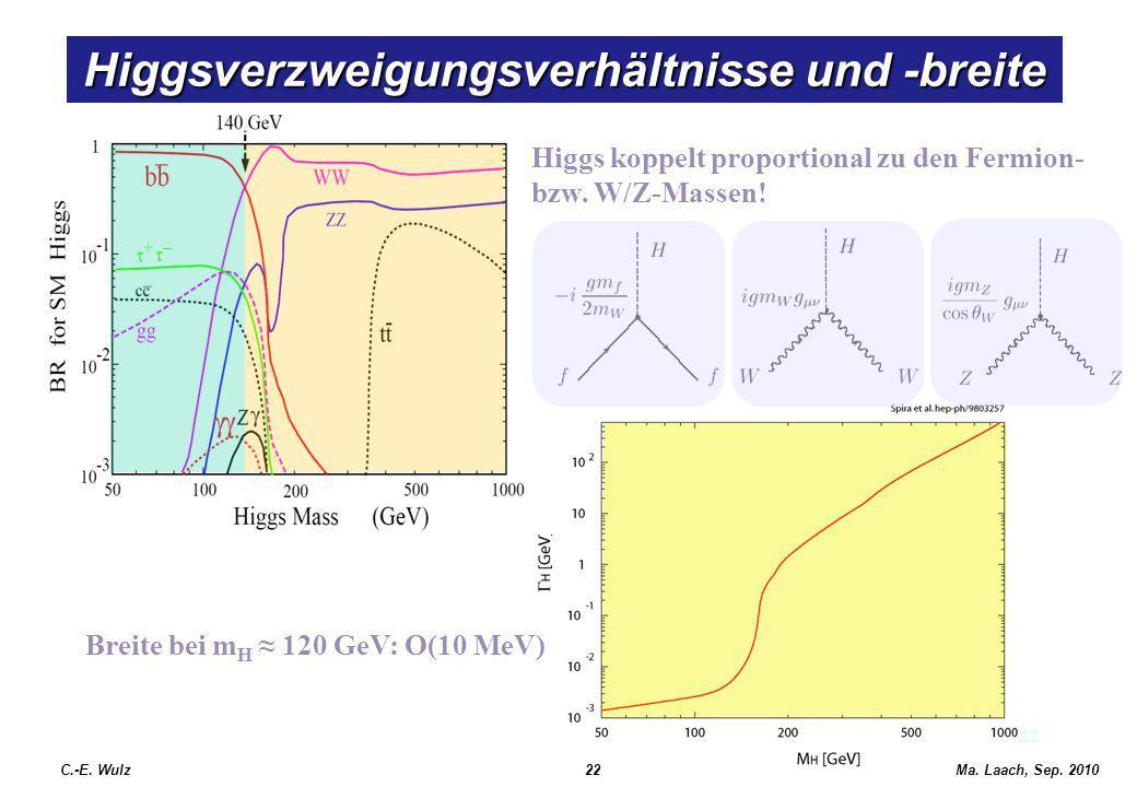 Higgsverzweigungsverhältnisse und -breite