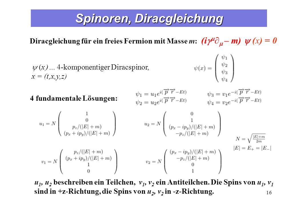 Chiralität Die Eigenzustände des Chiralitätsoperators g5 sind definiert als linkshändige (uL, vL) und rechtshändige (uR, vR) chirale Zustände: