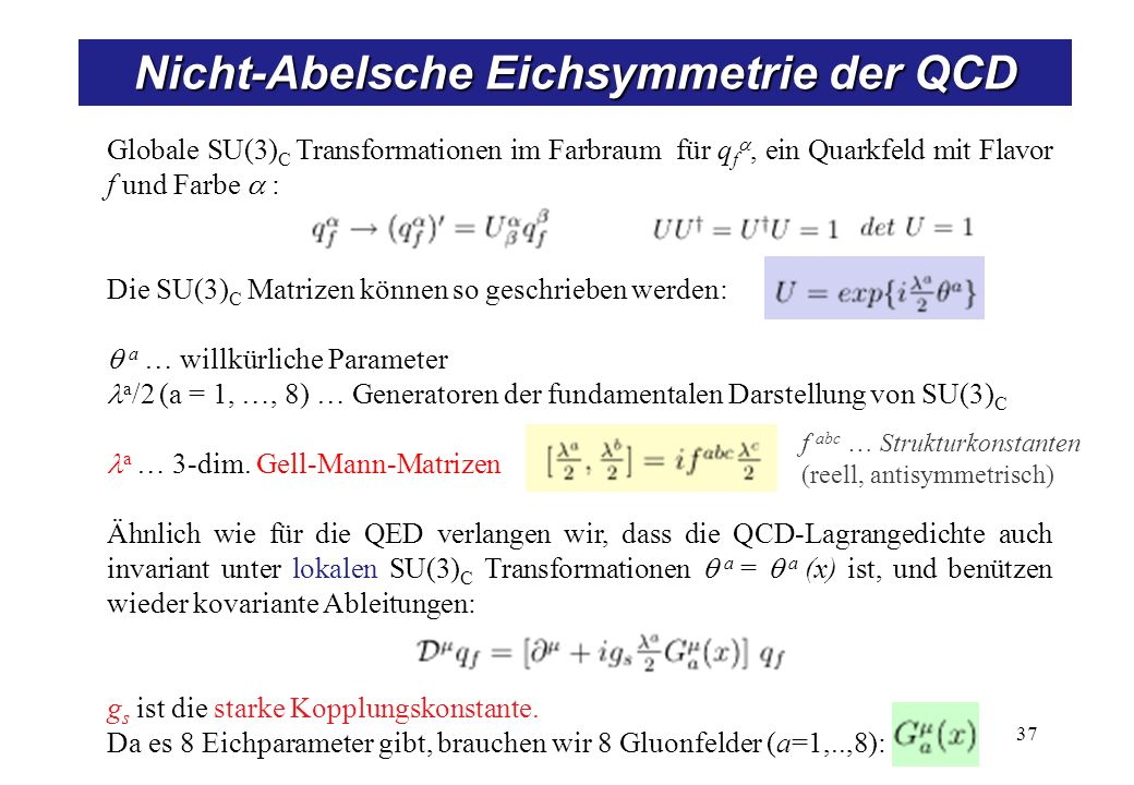 Eichtransformationen in der QCD