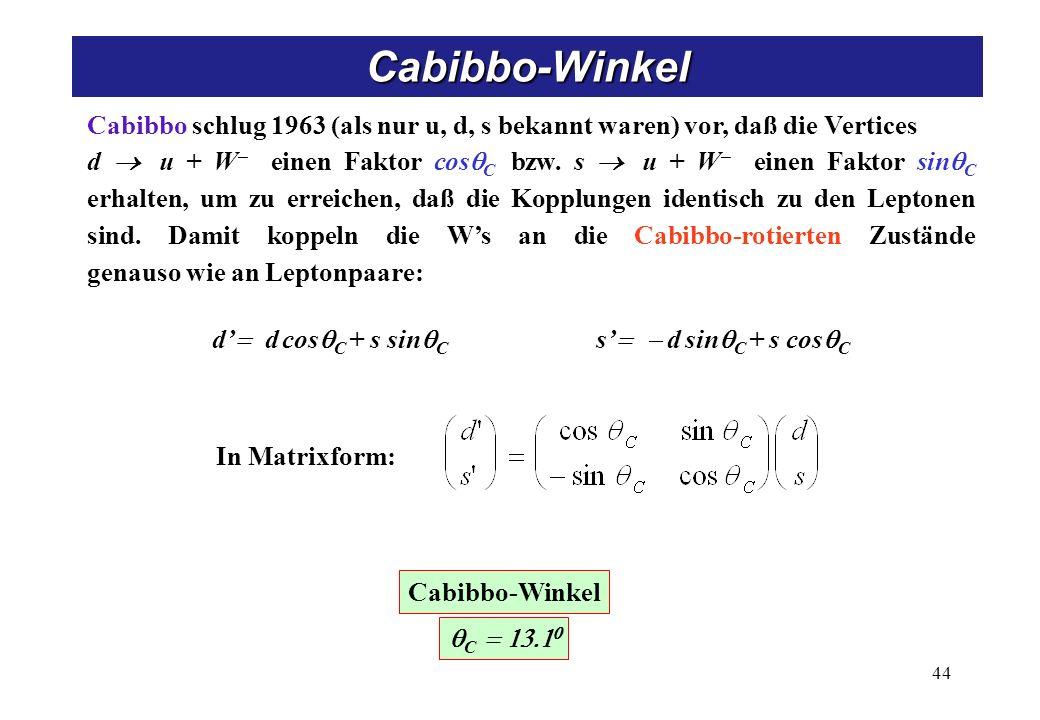 Cabibbo-Theorie u d W- cosC s sinC nl W± l