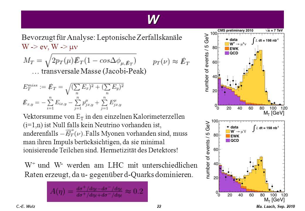 W Bevorzugt für Analyse: Leptonische Zerfallskanäle