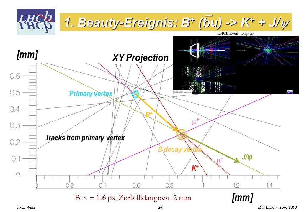 1. Beauty-Ereignis: B+ (bu) -> K+ + J/y