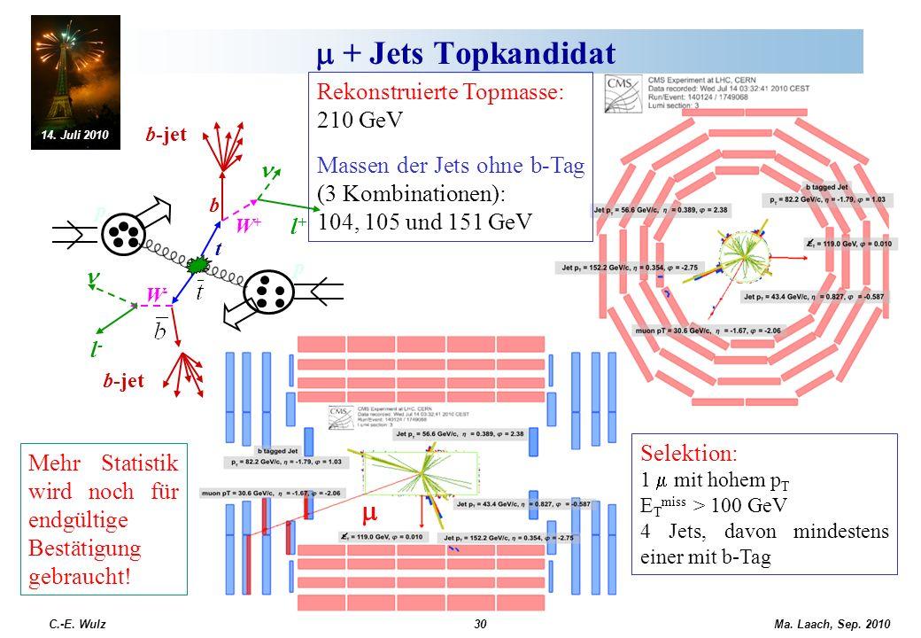 m + Jets Topkandidat m Rekonstruierte Topmasse: 210 GeV