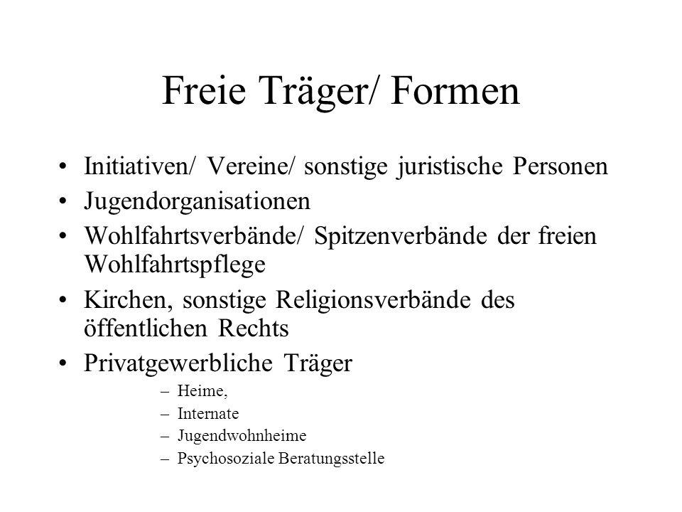 Freie Träger/ Formen Initiativen/ Vereine/ sonstige juristische Personen. Jugendorganisationen.