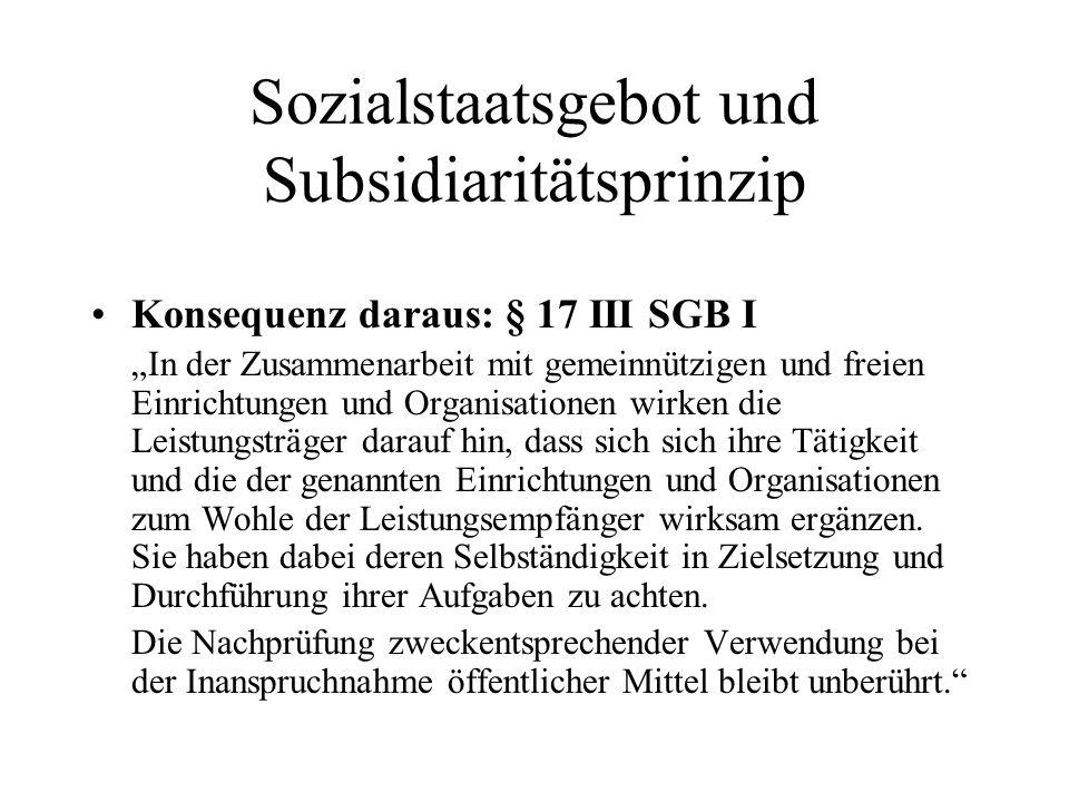 Sozialstaatsgebot und Subsidiaritätsprinzip