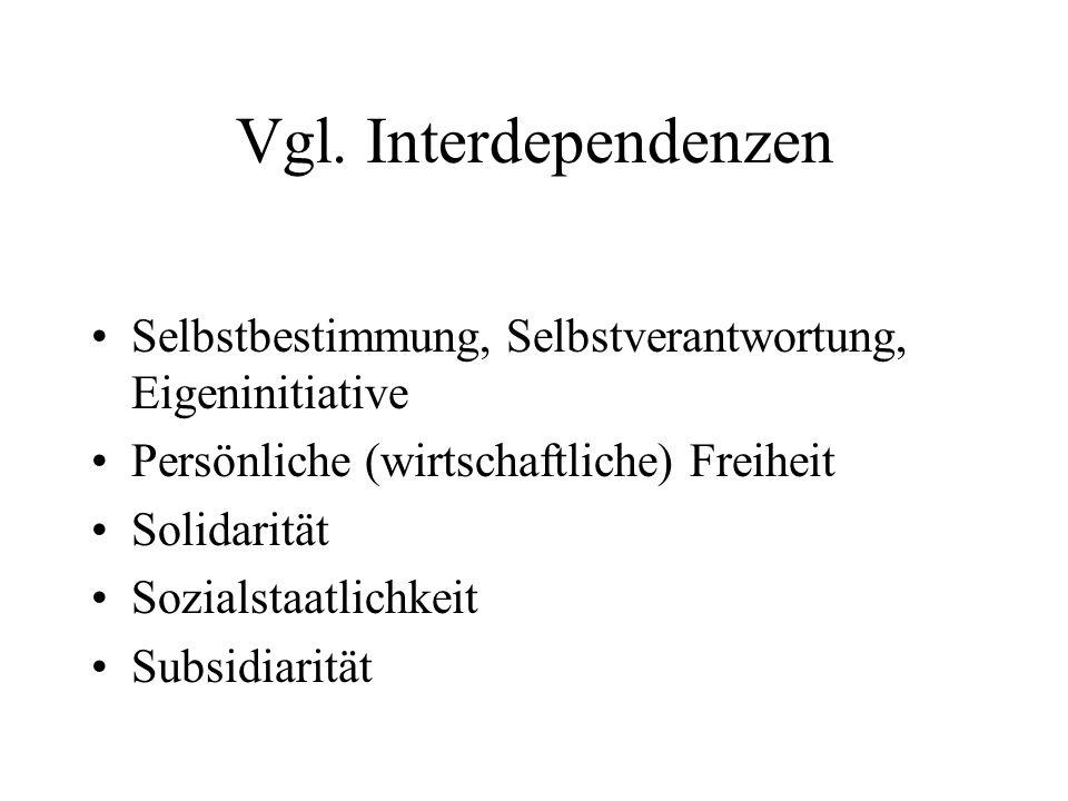 Vgl. Interdependenzen Selbstbestimmung, Selbstverantwortung, Eigeninitiative. Persönliche (wirtschaftliche) Freiheit.