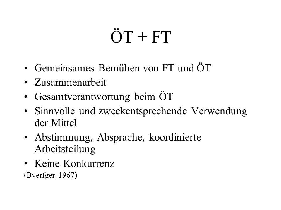 ÖT + FT Gemeinsames Bemühen von FT und ÖT Zusammenarbeit