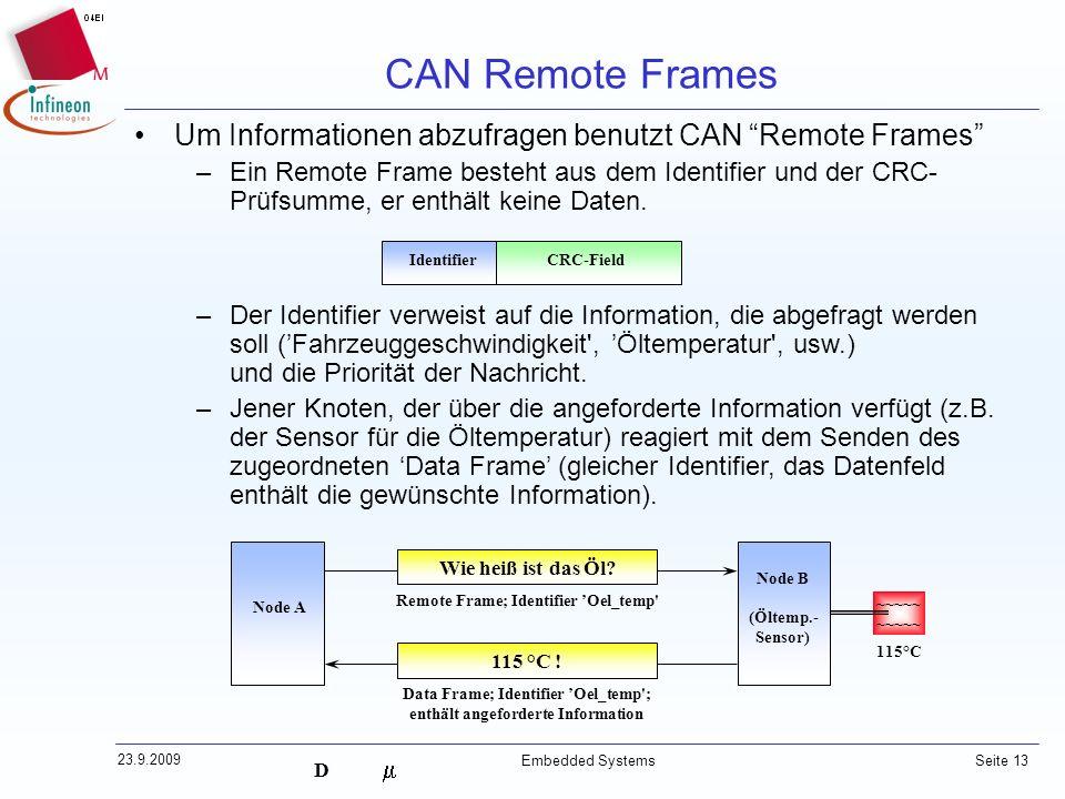 CAN Remote Frames Um Informationen abzufragen benutzt CAN Remote Frames