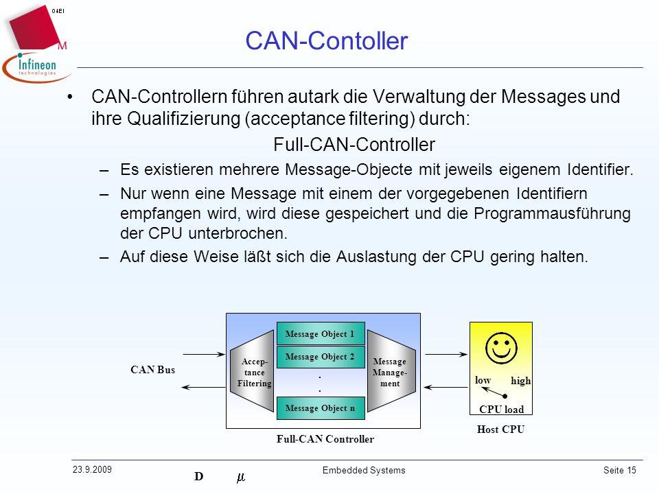 CAN-Contoller CAN-Controllern führen autark die Verwaltung der Messages und ihre Qualifizierung (acceptance filtering) durch: