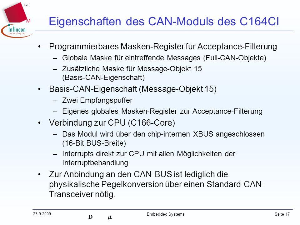 Eigenschaften des CAN-Moduls des C164CI