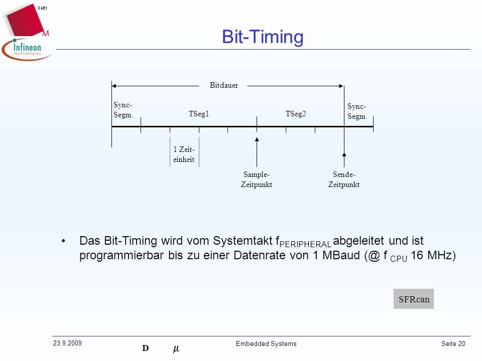 Bit-Timing TSeg1. TSeg2. Sync- Segm. Sample- Zeitpunkt. Sende- Bitdauer. 1 Zeit- einheit.