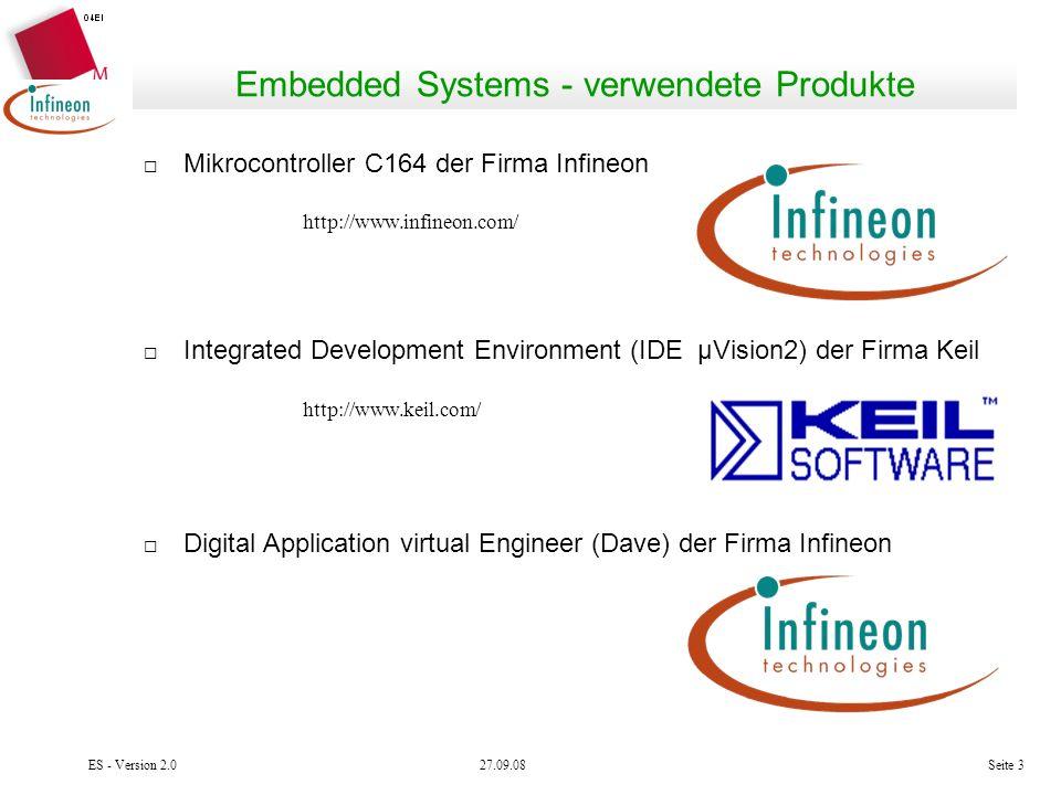 Embedded Systems - verwendete Produkte