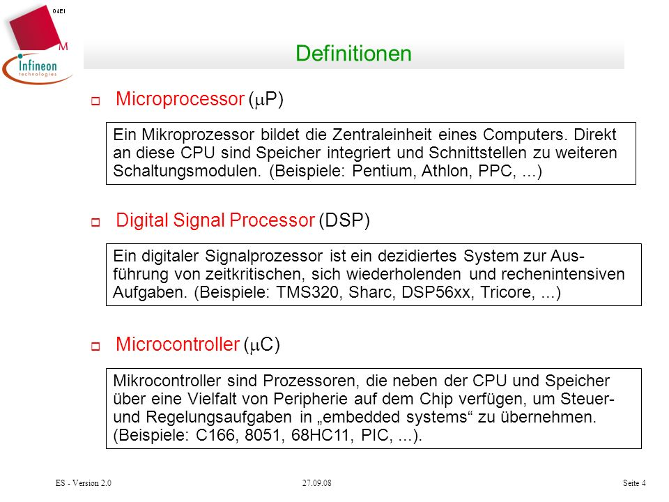 Definitionen Microprocessor (P) Digital Signal Processor (DSP)