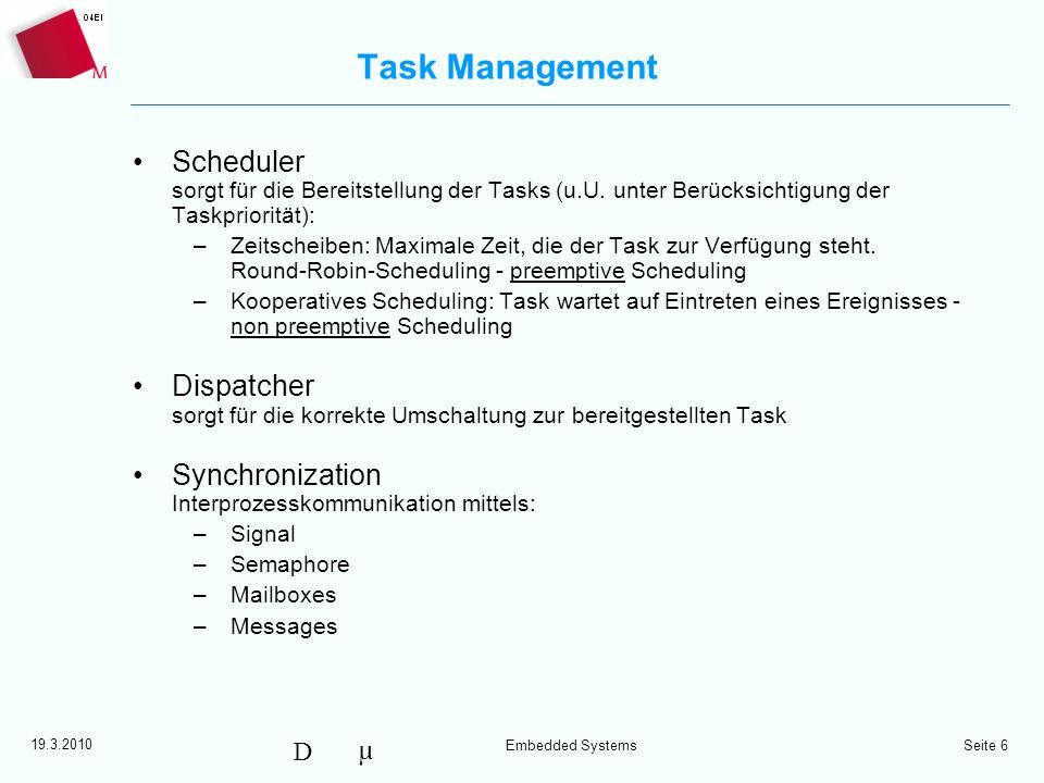 Task Management Scheduler sorgt für die Bereitstellung der Tasks (u.U. unter Berücksichtigung der Taskpriorität):