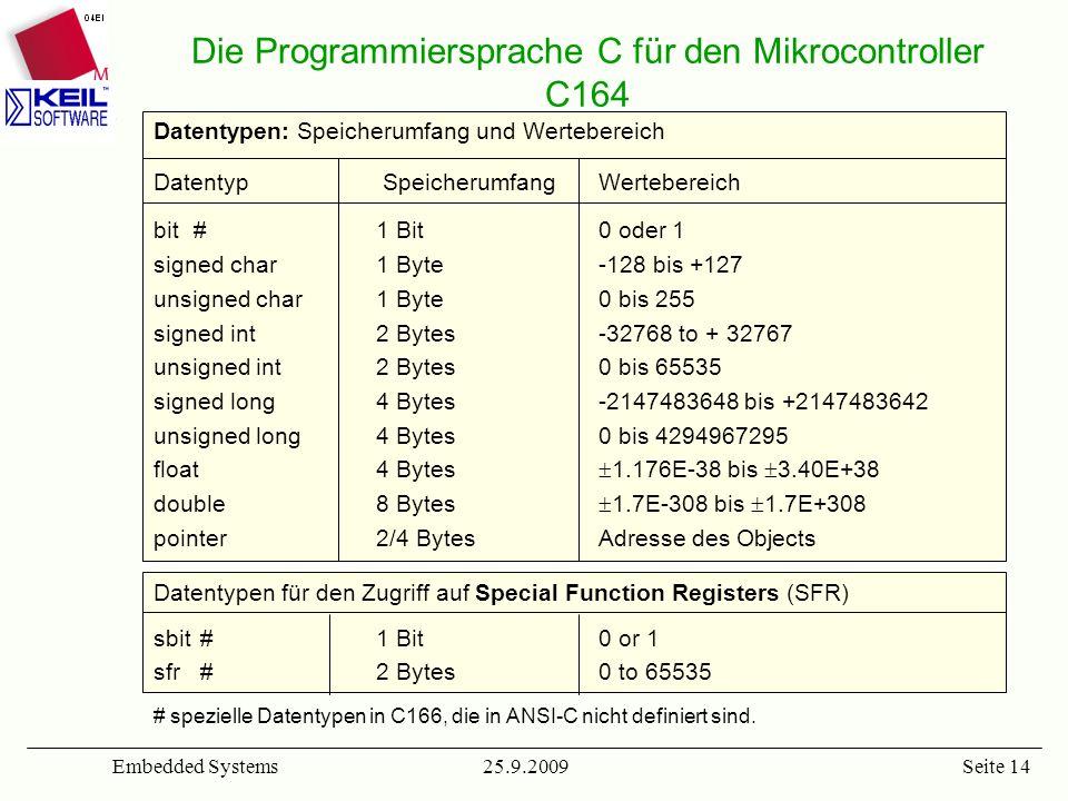 Die Programmiersprache C für den Mikrocontroller C164