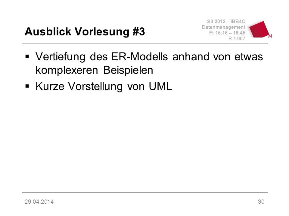 Vertiefung des ER-Modells anhand von etwas komplexeren Beispielen