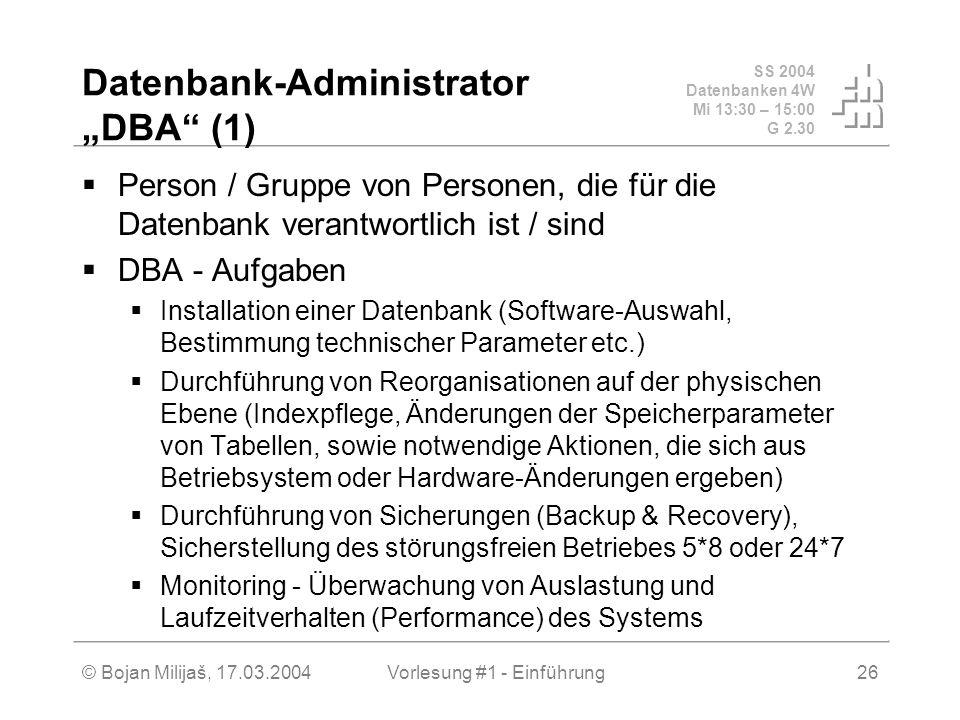 "Datenbank-Administrator ""DBA (1)"