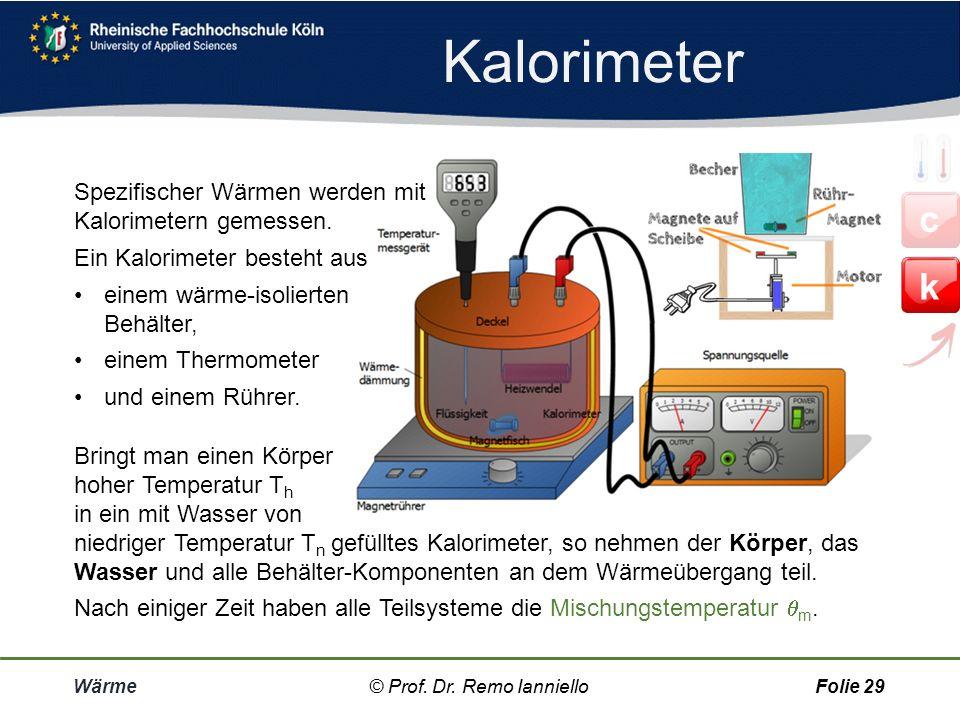 Kalorimeter c k Spezifischer Wärmen werden mit Kalorimetern gemessen.