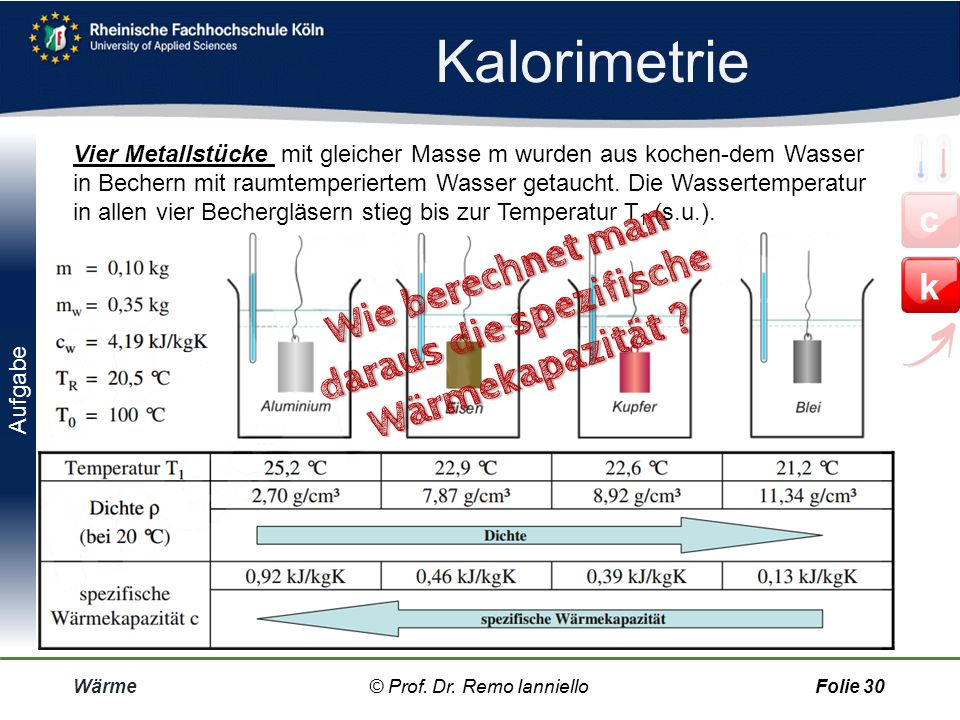 Kalorimetrie Wie berechnet man daraus die spezifische Wärmekapazität