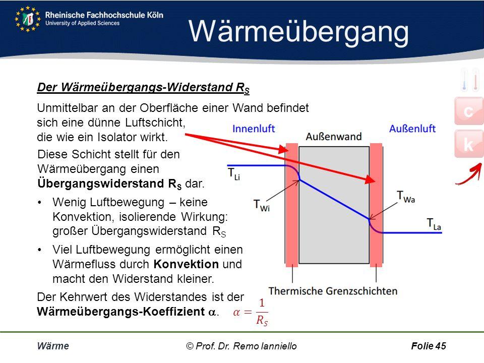 Wärmeübergang c k Der Wärmeübergangs-Widerstand RS