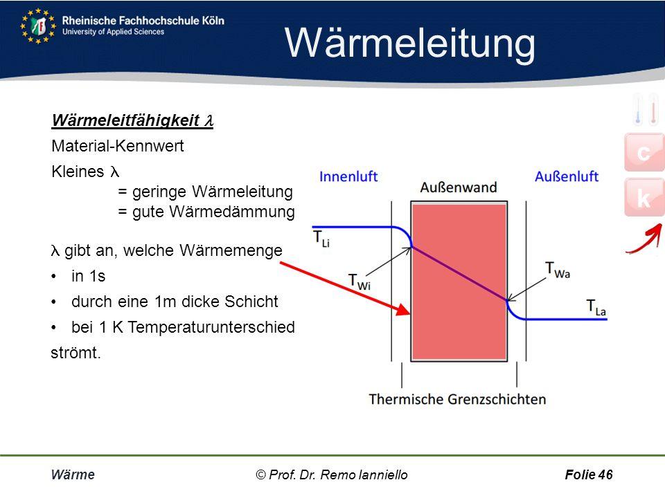 Wärmeleitung c k Wärmeleitfähigkeit  Material-Kennwert