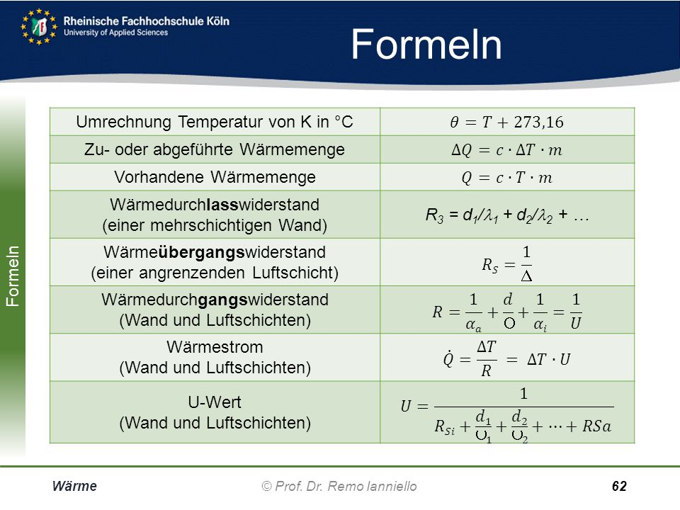 Umrechnung Temperatur von K in °C 𝜃=𝑇+273,16
