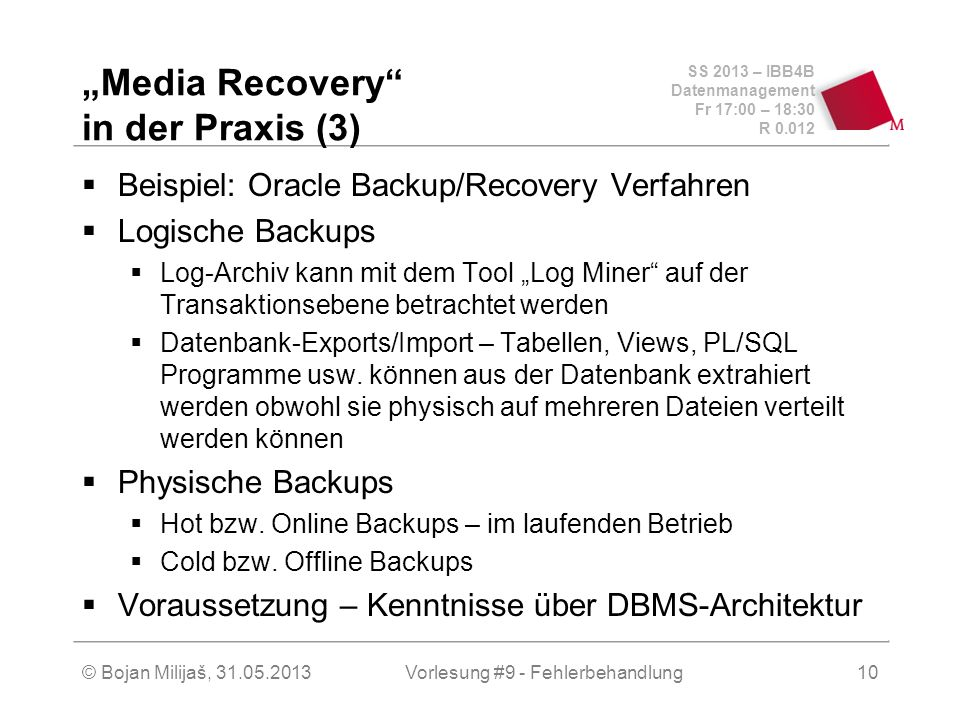 """Media Recovery in der Praxis (3)"