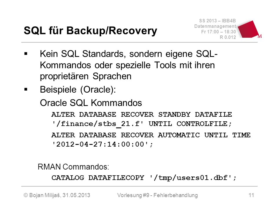 SQL für Backup/Recovery