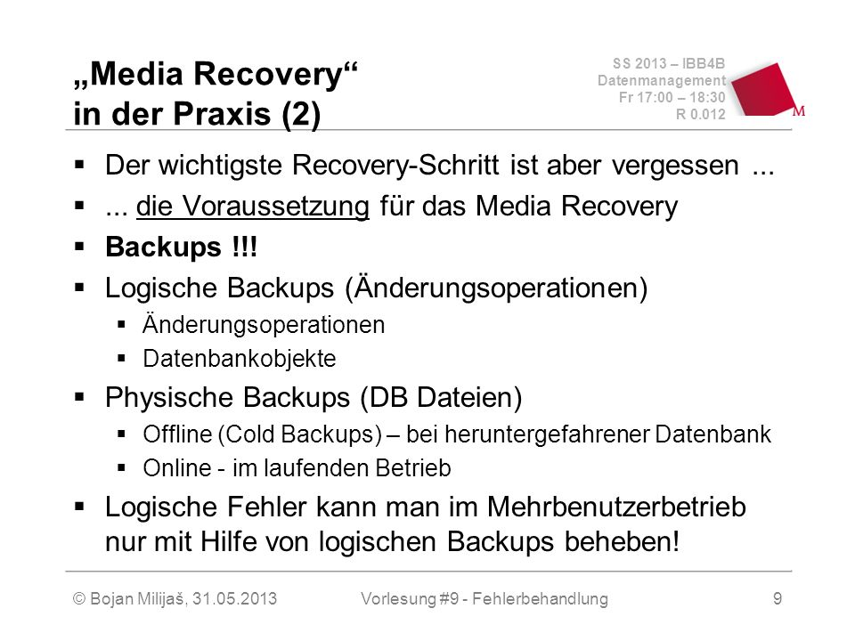 """Media Recovery in der Praxis (2)"