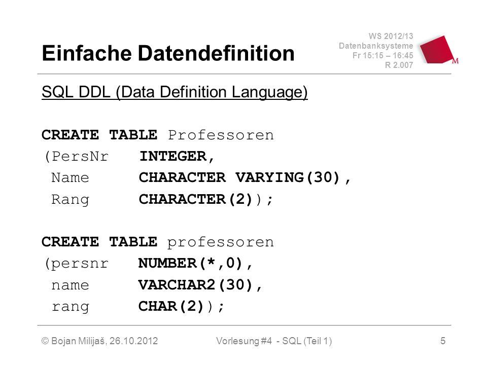 Einfache Datendefinition