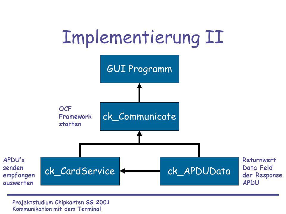 Implementierung II GUI Programm ck_Communicate ck_CardService