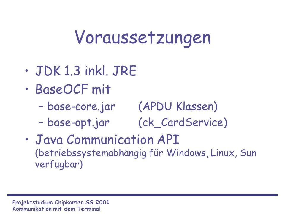 Voraussetzungen JDK 1.3 inkl. JRE BaseOCF mit