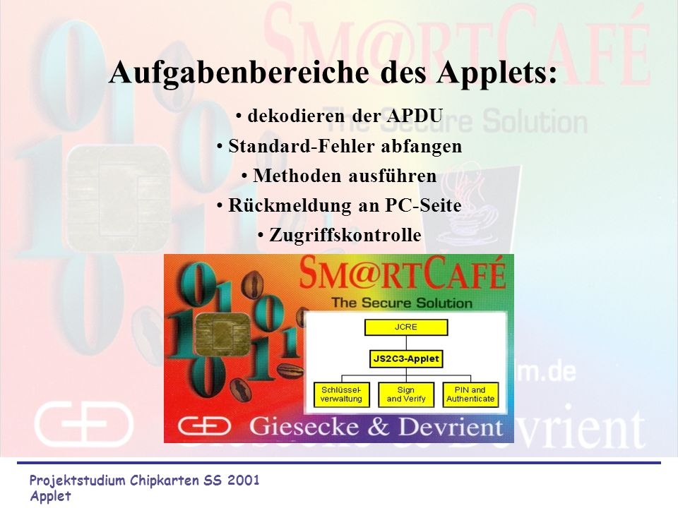 Aufgabenbereiche des Applets: