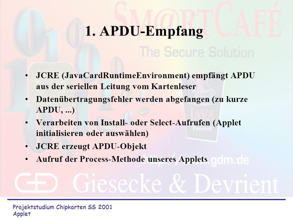 1. APDU-Empfang JCRE (JavaCardRuntimeEnvironment) empfängt APDU aus der seriellen Leitung vom Kartenleser.