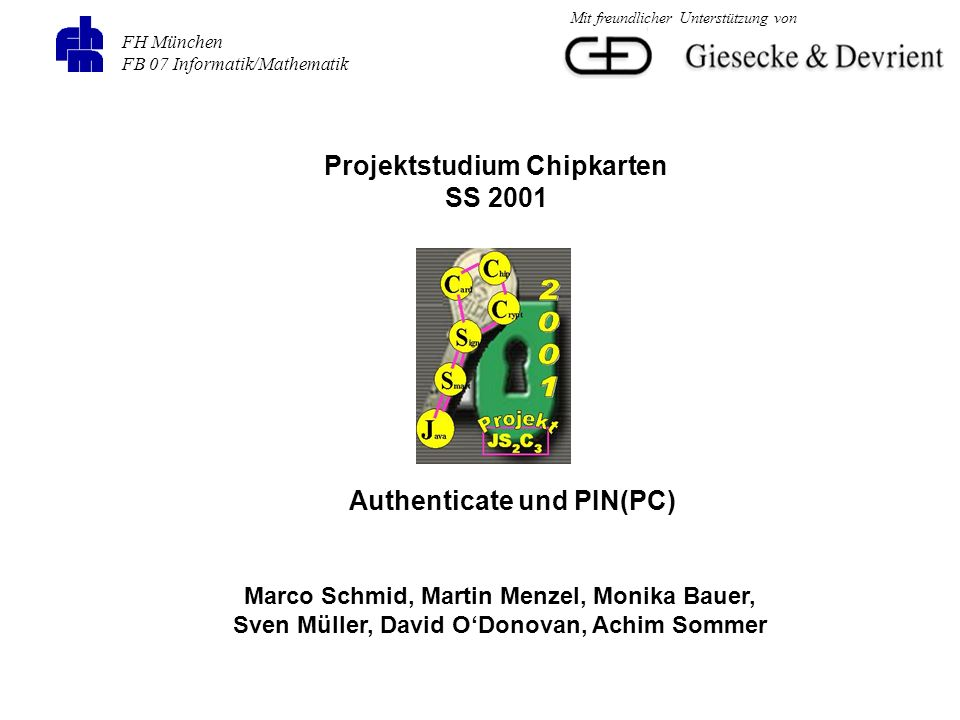 Projektstudium Chipkarten Authenticate und PIN(PC)