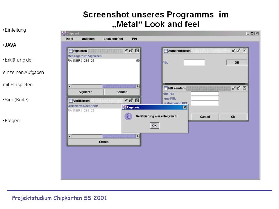 Projektstudium Chipkarten SS 2001