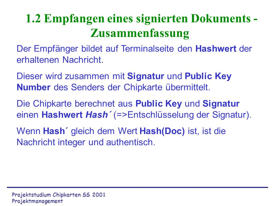 1.2 Empfangen eines signierten Dokuments - Zusammenfassung