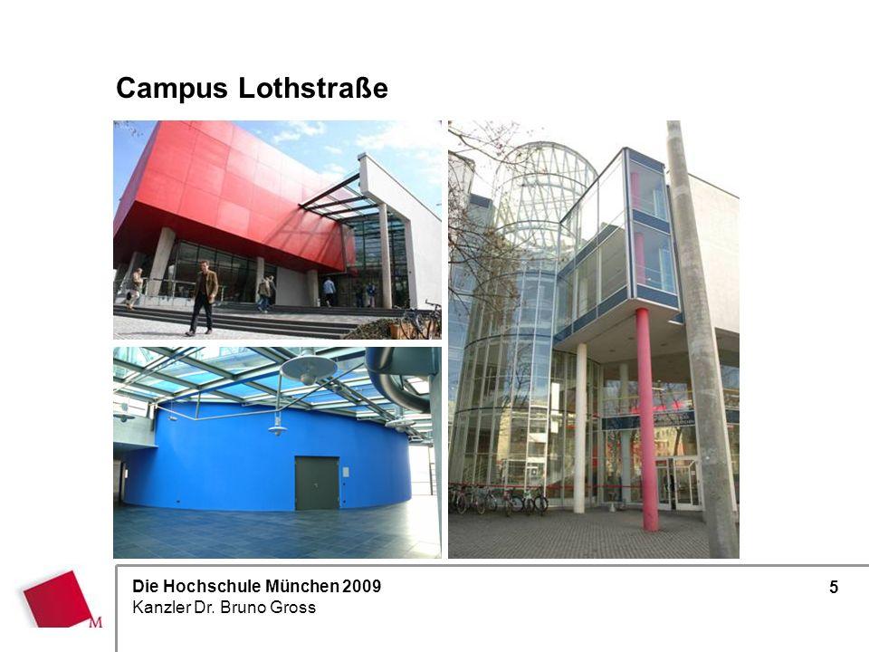 Campus Lothstraße Verwaltung + größte Zahl der Fakultäten