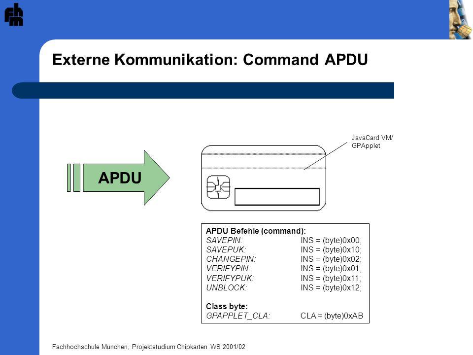 Externe Kommunikation: Command APDU