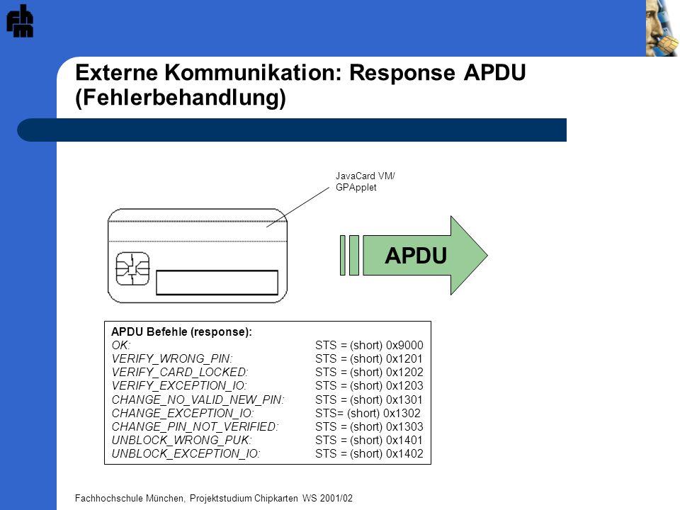 Externe Kommunikation: Response APDU (Fehlerbehandlung)