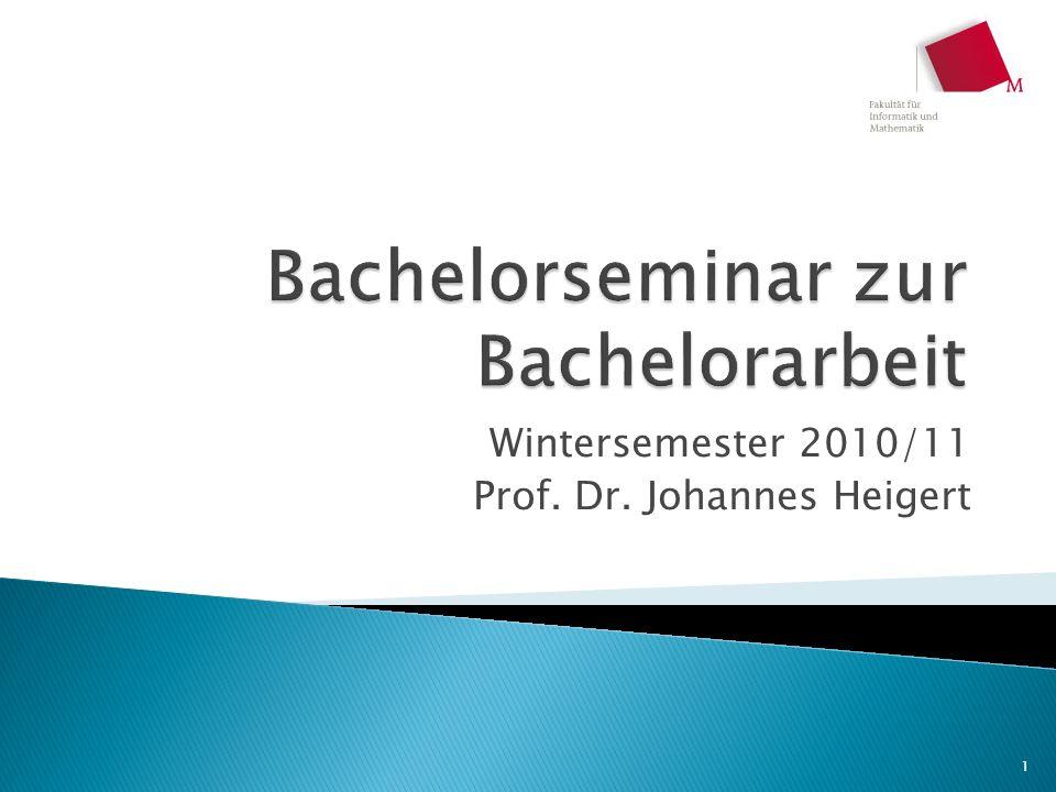 Bachelorseminar zur Bachelorarbeit