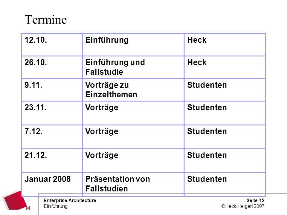 Termine 12.10. Einführung Heck 26.10. Einführung und Fallstudie 9.11.